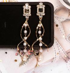 Crystal Drop Earrings Luxury Shining Gold Silver Color Round Rhinestone Dangle Earring for Women Wedding Party Earring Jewelry
