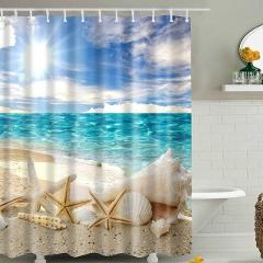 Waterproof Shower Curtain Wave Beach Conch Starfish Shell Polyester Washable Landscape Bath Curtains Bathroom Decor D
