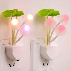 Novelty US & EU Plug Night Light Induction Dream Mushroom Fungus LED Lamp 3 LEDs Mushroom Lamp LED Night Lights