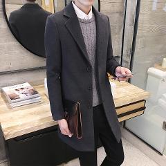 Men's 2019 autumn new shelves, fashion men's British style woolen coat, men's windbreaker and long sections Slim woolen coat