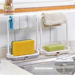 1 PCS Storage Rack Standing Type Sponge Holder Shelf Plate For Pad Towel 2in1 Mutifuctional Organizer Home Kitchen Accessories