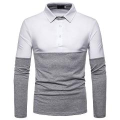 Men's Lapel Solid Color Panel Long Sleeve POLO Top Button Slim Fit Turn-Down Collar Long Sleeve Top Blouse Business Shirt#LR1