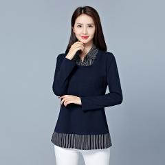 Plus Size 5XL Stripe Patchwork Fake Two-Pieces Women Blouses 2019 Kimono Elegant Ladies Office Tops Shirt Blouse Blusas Camisas