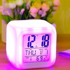 LED Change Fashion Electronic Clock Digital Alarm Thermometer Glowing Cube 7 Colors Clock Night Kids Alarm Clock