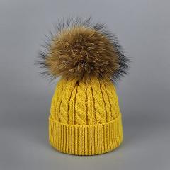 Children Winter Raccoon Fur Hats 100% Real Fur pompom Beanies Cap Natural Fur Hat for Kids 2018 Fashion Boy girl Skullies