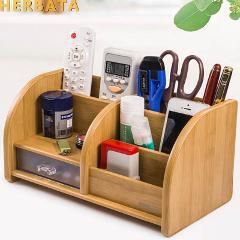 Pen holder desk new fashion multi-function Bamboo Made desk storage box office supplies stationery pen box pens holder set