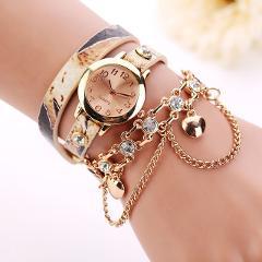 quartz watch women leather bracelet Woman Leather Rhinestone Rivet Chain Quartz Bracelet Wristwatch Watch relogio feminino 30X