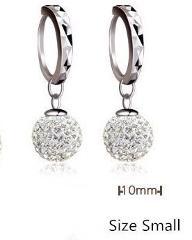 925 pure silver pendant earring full rhinestone ball ear buckle earrings fashion CZ Crystal earring Dangling wedding women