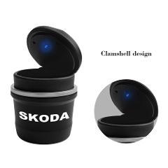LED Car Ashtray Storage Cup Home Office Cigarette Smoke Holder For Skoda Octavia Kodiaq Fabia Rapid Superb A5 A7 Kamiq Karoq