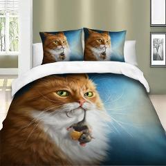 Denisroom 3D Children's Bed Linen Cat and Dog Quilts and Bedding Sets Cartoon Duvet Cover Lovely Set Of Bed Linen Bedspreads