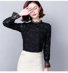 New Arrival Black Lace Women's Blouse Shirt 19 Autumn Long Sleeve Solid Plus Size Women's Clothes Blusas Verano Mujer 6275 50
