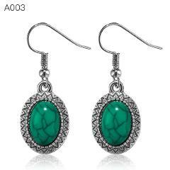 SHUANGR Ethnic Tibetan Silver Pendant Earrings Natural Stone Green Drop Earrings for Women Pendientes Turquoises Jewelry