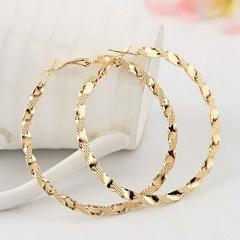 1 Pair Elegant Simple Pierced Golden Color Texture Vintage Hoop Earrings for women girl Metal Big Round Circle Exaggerated Party