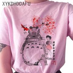 Totoro Studio T Shirt Women Ullzang Funny Ghibli Harajuku T-shirt Cute Cartoon Anime Tshirt Kawaii Female Top Tees Clothing