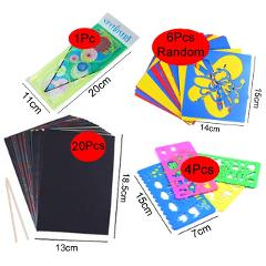 Magic Color Rainbow Scratch Art Paper Card Set with Graffiti Stencil for Drawing Stick DIY Art Painting Toy for Children GYH
