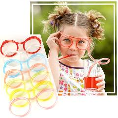 DIY Straw Children's Creative Cartoon Cute Fun Wacky Glasses Toys Household items Drinkware funny gift  prank  toy novelty  cool