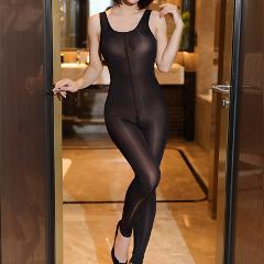 BODYSUIT crotchless FullBody pantyhose  shinny Vest ultra-thin transparent Strap Tights Stocking  jumpsuits