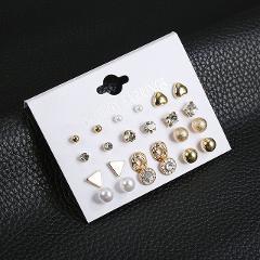 2019 Fashion New Women's Small Earrings Girl Classic Retro Punk Earrings Set Cute Crystal Earrings Jewelry Fashion Brincos