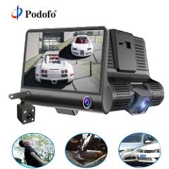 Podofo 4.0'' 3 Way Car DVR Camera Video Recorder Rear View Auto Registrator ith Two Cameras Dash Cam DVRS Dual Lens Holder Stand