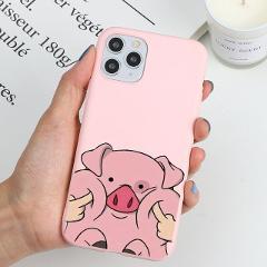 Cartoon Pig Print Matte Coque For iPhone 11 Pro Max X XR XS Max 6 6S 7 8 Plus 5 5S SE Case Cute Soft TPU Case For iPhone X S XR