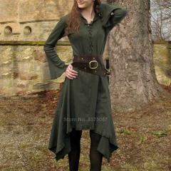 Renaissance Women Halloween Dress Solid Bandage Medieval Cosplay Costume Hunter Archer Vintage Carnival Party Vestido Plus Size