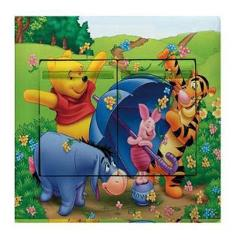 1 pcs Detachable children's bedroom renovated three-dimensional Winnie the Pooh switch stickers home decoration wall art decals