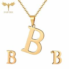 Classic Girls Children Jewelry 26 Letters B Pendant Necklace And Earrings Golden Stainless Steel Jewelry Set Kids Gifts