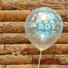 10pcs/lot It is a boy gril baby boy latex balloons for Birthday, 12inch 3g transparent and blue Baby Its shower Party Decoration