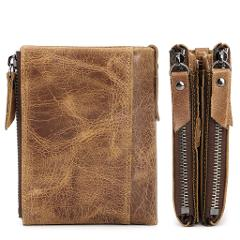 High Capacity Men Genuine Leather Cowhide Wallet Bifold Coin Purse Card Holder A