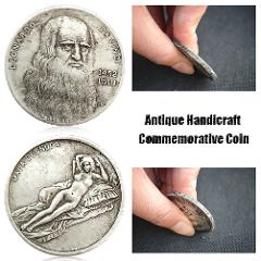 1pcs Leonardo Da Vinci Commemorative Coin Antique Imitation Handicraft Silver Da Vinci Coin Commemorative Collection