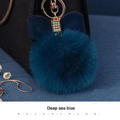 Pompom Women Trinkets Leather Bow Rhinestone Keychain Charm Pompon Keyring Fluffy Faux Rabbit Fur Ball Key Chains For Car Bag