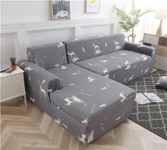 L Shaped Chaise Longue Couch Cover Elastic Sofa Cover for Living Room Universal Slip-resistant Armchair Slipcover