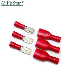 100pcs Red Female Male Fasten Insulated Crimp Terminal Spade Electrical & Cable Wiring Connector FDFD1.25-250*50 MDD1.25-250*50