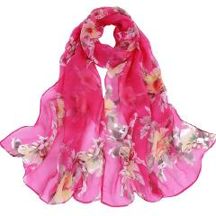Fashion Women Peach Blossom Printing Long Soft Wrap Scarf Ladies Shawl Scarves