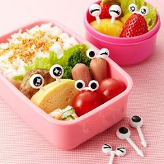 New 10PCs/ Lot Cute Plastic Fruit Toothpick Lovely Eye Cartoon Forks Bento Decorative Tableware Food Picks Fish Fork Dessert