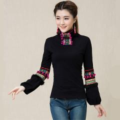 2018 Spring Autumn Women Tops Tees High Quality Long Sleeve Robe Body T Shirt Cotton Embroidery Blusas Feminina Vintage T-Shirts