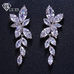LXOEN Marquise Cut Flower Zirconia Crystal Long Drop Earrings for Women Shiny Leaf CZ Stone Bridal Wedding Jewelry