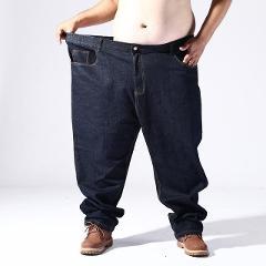 2019 new arrival Super Large Elastic Waist Jeans Men Larger Loose Pure Color Trousers Full Length Casual plus Size 5XL6XL7XL 8XL