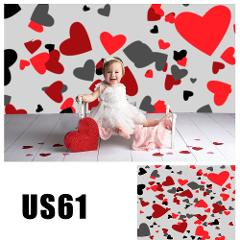 HUAYI Photography Backdrop Valentines Day Vinyl Background Red Hearts Baby LOVE Photo Booth Party Portraits Props US61