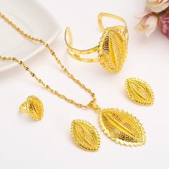 gold Ethiopian Traditional Jewelry set Necklace Earrings bracelet men Eritrea sets for Women's Habesha Wedding bridal Best Gift
