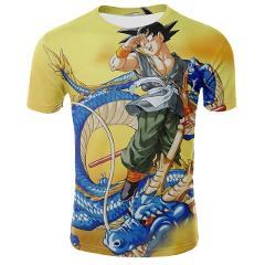 The latest Super Saiyan 3D printing T-shirt Dragon Ball Wukong Huang China Dragon trend 3D shirt summer sports T-shirt