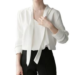 Fashion Plus Size White Loose V Neck Long Sleeve Shirts Women Blouses Summer Tops Summer Chiffon Shirt Tops Loose Blouses White