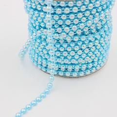Free Shipping 2Meters 6mm AB Colors Craft ABS Half Round Flatback Imitation Pearl Beads Chain For DIY Decoration
