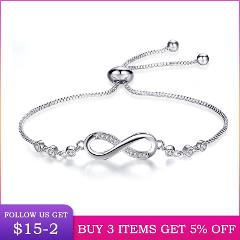 LByzHanAuthentic 925 Sterling Silver Infinity Adjustable Bracelet For Women Hot Fashion 8 Word Bracelet For Gift CMB81