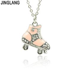 JINGLANG Fashion Pendant Necklace  2018 New Rhinestone Skate Pendants Best Friends Women Necklace For Valentines Gift Jewelry