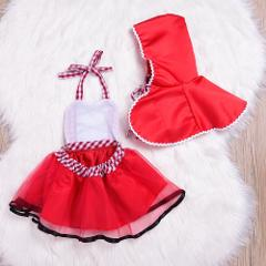 Newborn Baby Girls Tutu Dress +Cape Cloak Outfit Little Red Riding Hood Cosplay Photo Prop Costume Girl Party Dress Baby Clothes