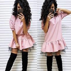 Women Casual Lace Patchwork Straight Dress Ladies Short Sleeve O Neck Office Lady Dress 2019 Summer Women Elegant Mini Dress