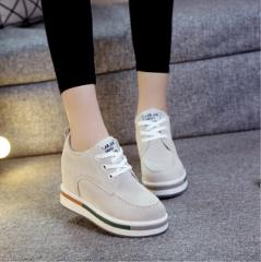 2018 Autumn Women Platform Shoes Wedge Sneakers 8cm Heels Leather Casual Shoes Flats Woman Increasing Shoes Female Zapatos Mujer