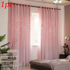 Double-Layer Hollow Star Thermal Insulated Blackout Curtains For Living Room Bedroom Window Decorative Curtain Blinds Stitched