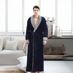 Men Casual Kimono Bathrobe Autumn Winter Flannel Long Robe Thick Warm Sleepwear Full Sleeve Nightgown Male Casual Home Wear